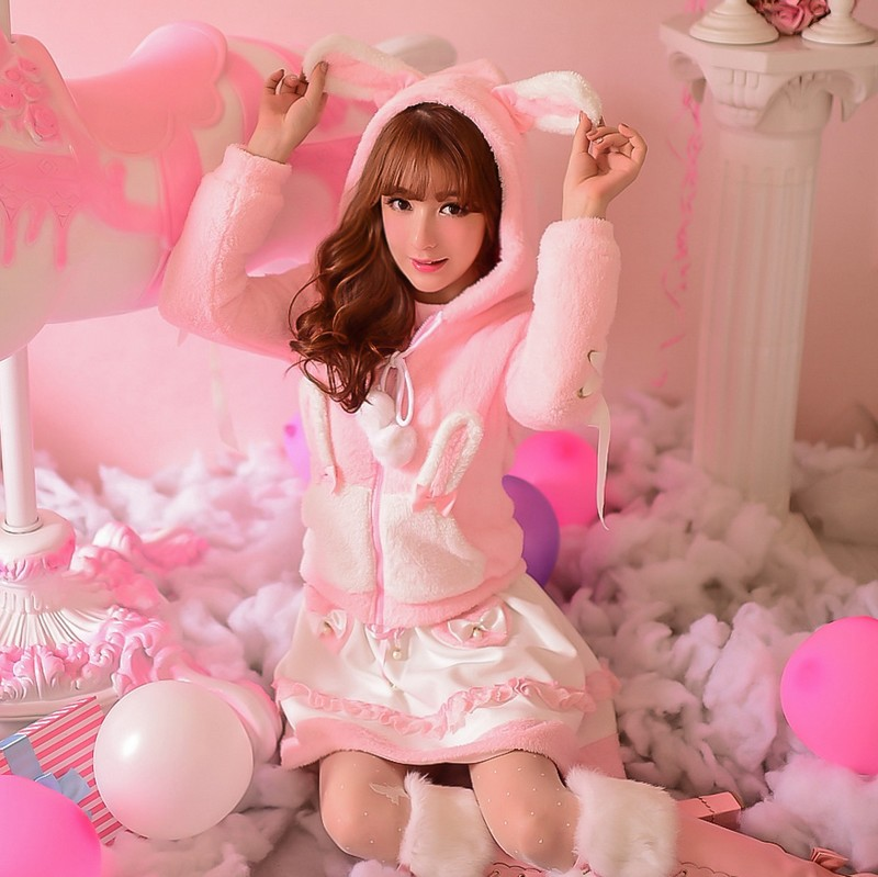 Princess sweet lolita coat Candy rain Autumn winter rabbit ear hat pom pink ribbon bow fuzzy hooded C16CD5900 - Loliloli shop for Lolita store