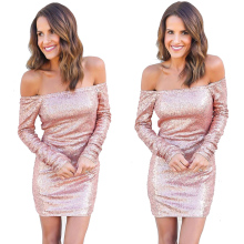2017 new arrival spring sexy club women clothing slash-neck sequined long-sleeved dress evening party mini-bandage dress