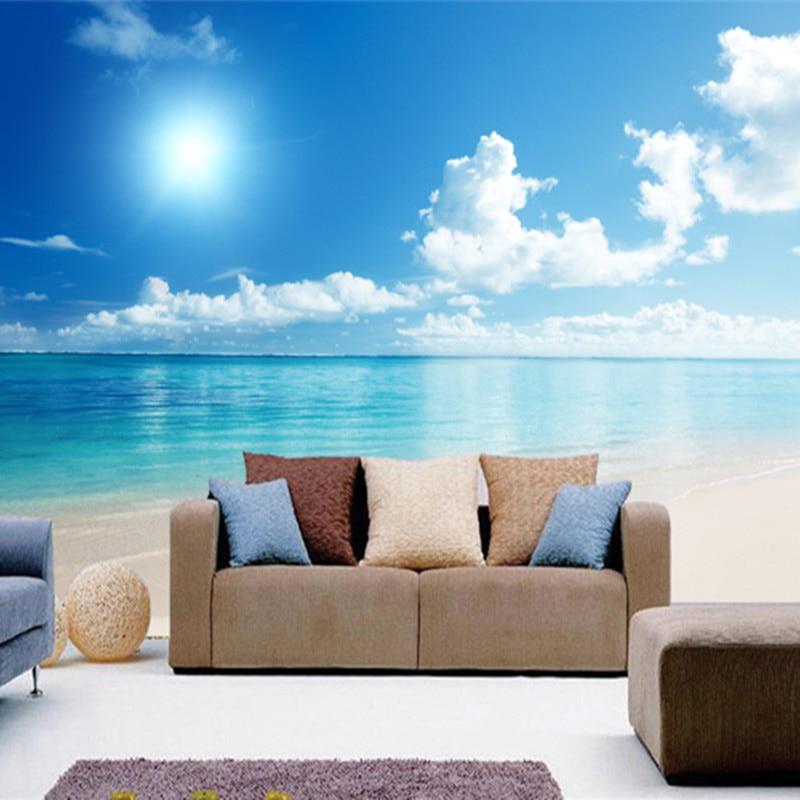 Us 874 50 Offcustom Large Mural Wallpaper Sea Blue Sky 3d Ocean Scenery Tv Background Living Room Photo Wallpaper 3d Room Wallpaper Landscape In