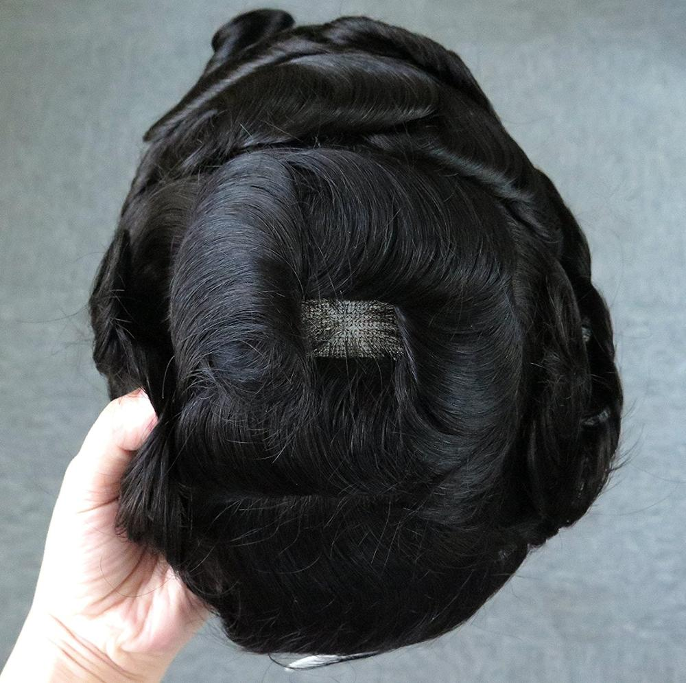 France Lace Base Mens Toupee Hairpiece Indian Hair Bleached Knots Soft Lace Mens Hair System