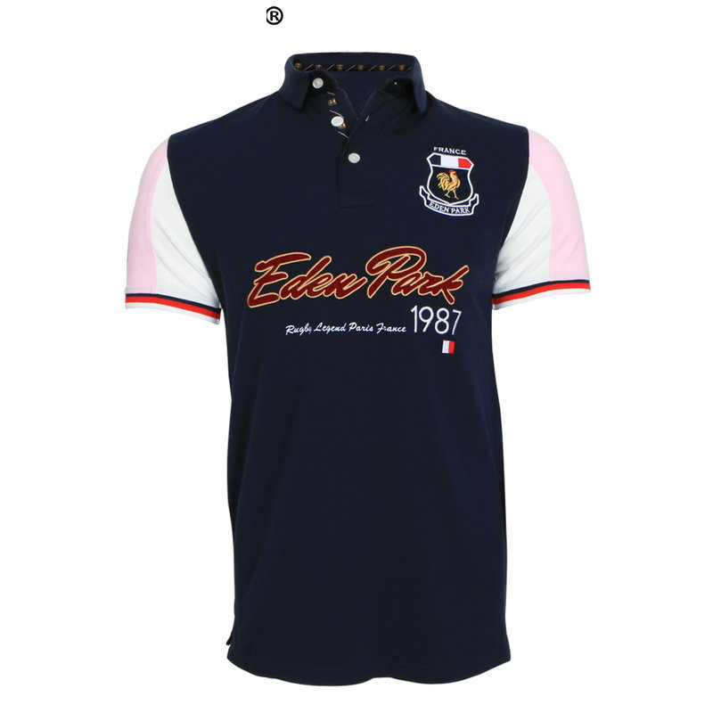 French brand E-P Eden Park Men   Polo   2018 Summer Short   Polos   Casual Sportswear Breathable Mens   Polo   short sleeve Shirts BIG M-3XL