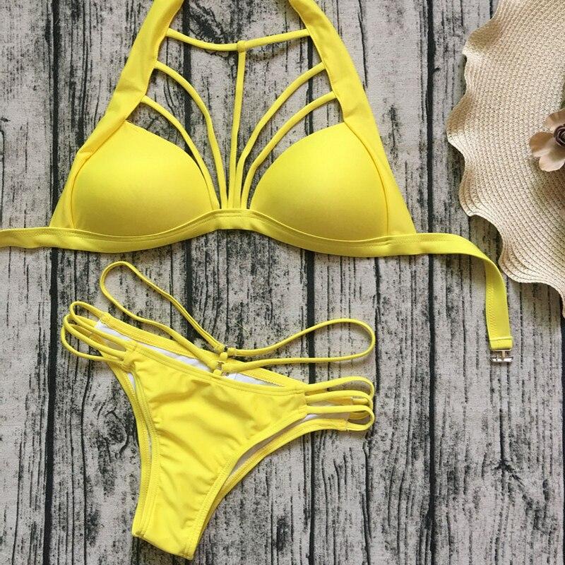yellow bikini Solid