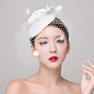 Image 3 - הכלה סטודיו תמונה כיסוי ראש תחרה פשתן רדוד לבן כובע שיער קישוטי חתונה שמלת אביזרי נשים fasinator כובע שיער קליפ