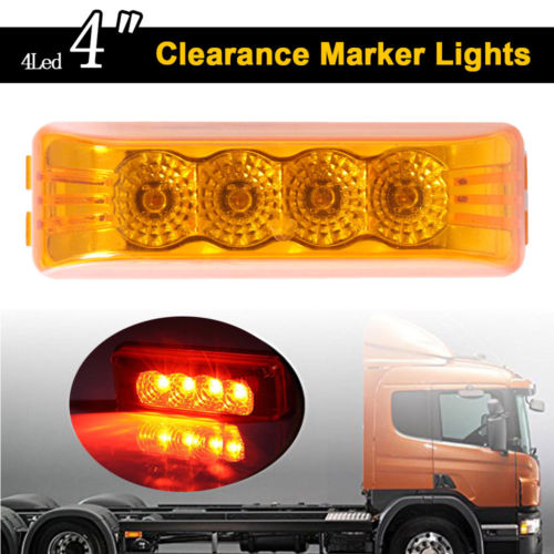 Keyecu Amber 4Led Truck Trailer 12V Front Rear Led Side Marker Lights Indicator Lamp 12V or 24V 1pair led side maker lights for jeeep wrangler amber front fender flares parking turn lamp bulb indicator lens