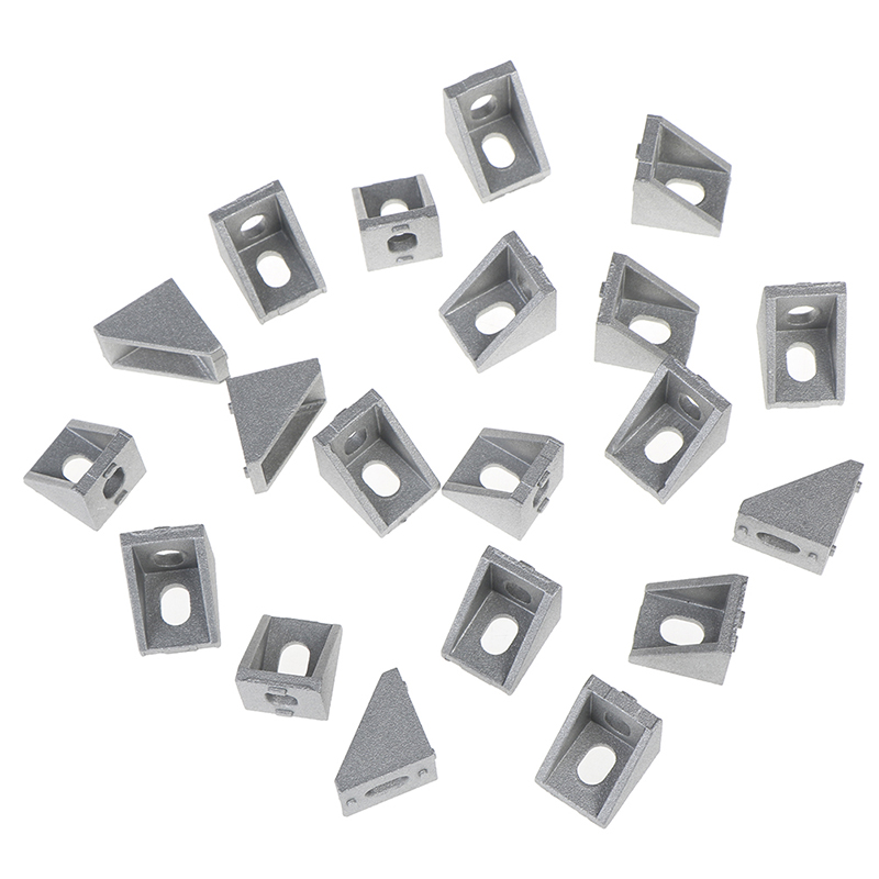 20Pcs 3D Aluminum 17x20x20 Printers CNC Routers Industrial Profile 2020 Corner Fitting Angle Connector Bracket Fastener