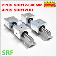 2pcs 12mm linear rail SBR12 L600mm Linear guide rail + 4pcs SBR12UU bearing block for cnc