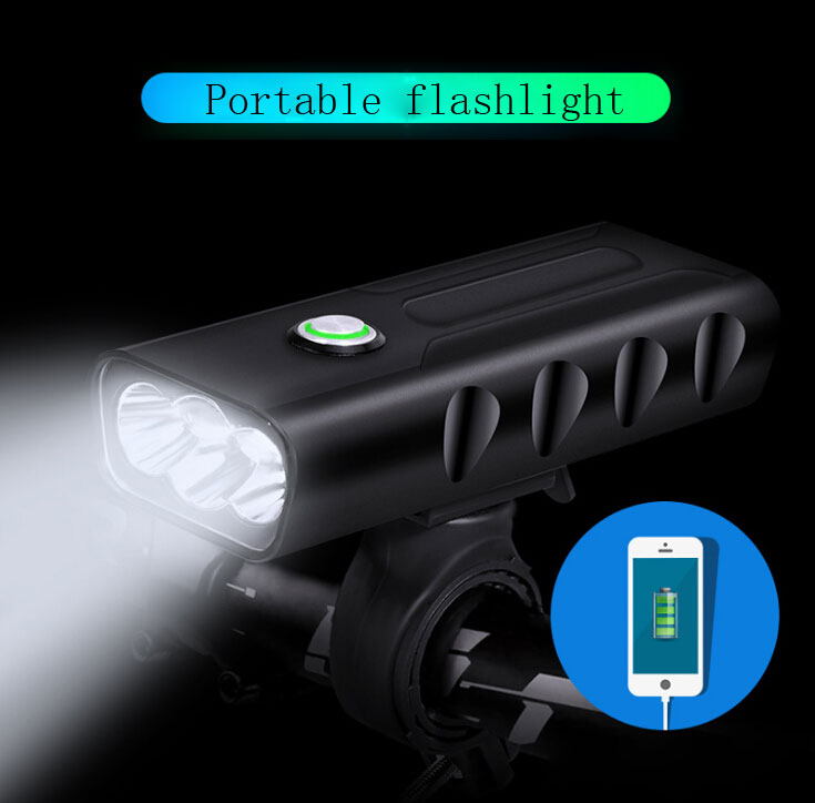 Portable flashlight 3*L2/T6 USB Rechargeable Built-In 5200mAh 3Modes Bicycle Light Waterproof Headlight Bike LightsPortable flashlight 3*L2/T6 USB Rechargeable Built-In 5200mAh 3Modes Bicycle Light Waterproof Headlight Bike Lights