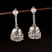 Classic Women Gypsy Silver Indian Earrings Boho Jewelry Ladies Jhumka 2019 Retro Egypt Round Bell Tassel Long