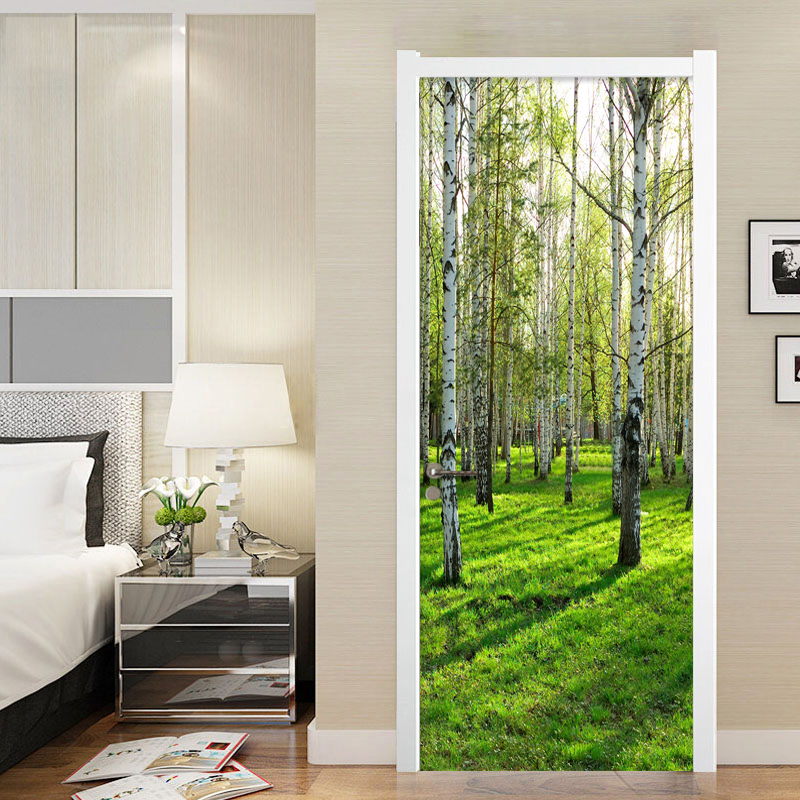 Photo Wallpaper Modern Simple 3D Stereo Birch Forest Mural Wall Sticker Living Room Bedroom Home Decor PVC Waterproof Wall Paper mew forest heart printed room decor wall sticker