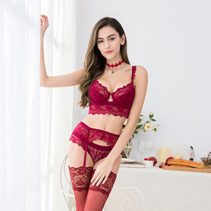 Image 2 - CHYWR lace thin cotton cup breast 5 row buckle bra side collection sexy Bra set bra+panty+garter belt +stocking 4pieces/lots
