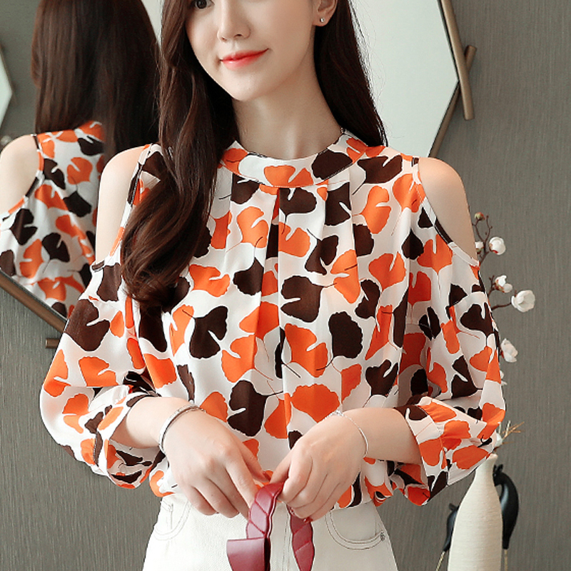 Chiffon Women Short sleeve Sexy   shirt   2019 New Summer Spring   Blouses     Shirt   Women's   blouses   Printed Shoulder Chiffon   Shirts   638F7