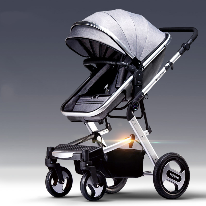 High-profile baby trolley can sit on the ultra-light folding four round two-way baby carriage