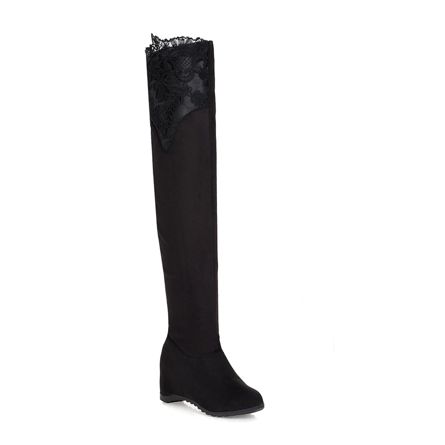 2018 Winter Black Red High quality Stretch fabric Women boots Height increasing Over-the-knee Shoes woman