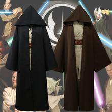 Movie Star Wars Jedi Cosplay Costume Adult Black Jedi Robe Cloak Halloween Hoodie Men