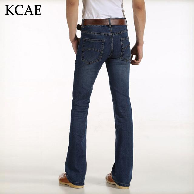 Envío de la Alta Calidad hombres Auturm Boot Cut Jeans Hombre de Negocios Mediados de Cintura Acampanados Pantalones de Mezclilla elásticas bengalas pantalones