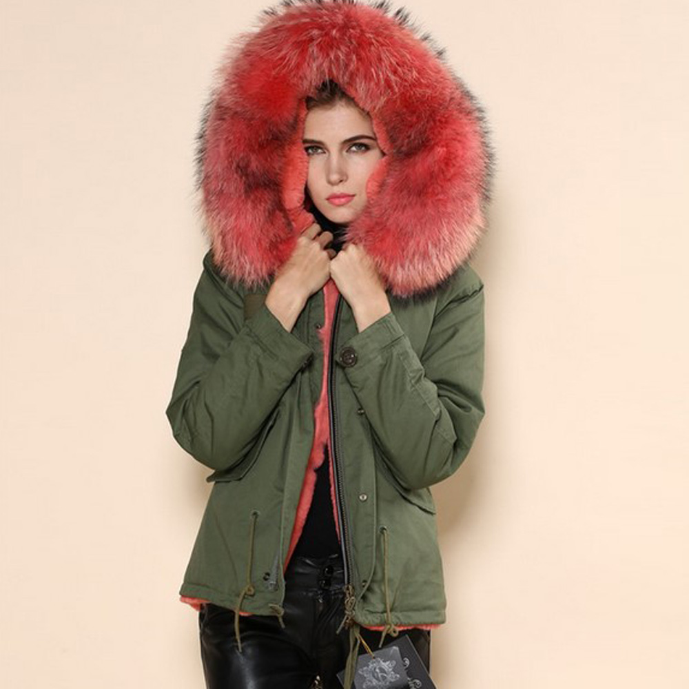 Winter Coat Women 2017 Real Raccoon Fur Collar Parka Coats Femme Long Sleeve Zipper Army Green Thicken Warm Hooded Cotton Jacket red stripe fur inside male coats winter wear keen warm elegant real raccoon fur collar cashmere fur parka