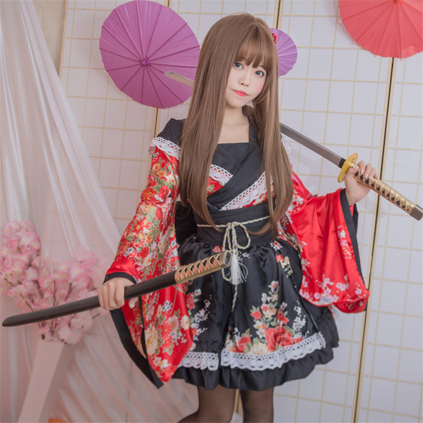 Girls Lovelive Kimono Dress Japanese Kawaii Anime Cosplay Costumes Floral Fancy Oriental Yukata Woman Lace Lolita Party Clothing
