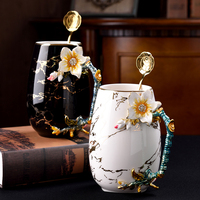 Bone china coffee cup milk mugs Creative Enamel Mug Flower Tea coffee cup with spoon birthday wedding gift Household Drinkware