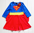 Superman Supergirl Super Girl Girls childrens kids long sleeve Cosplay Dress with CAPE Halloween Christmas Xmas Dresses Costume