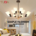 TUDA светодиодная люстра из Европейского цинкового сплава люстра для гостиной спальни матовая стеклянная люстра E27 110V 220V