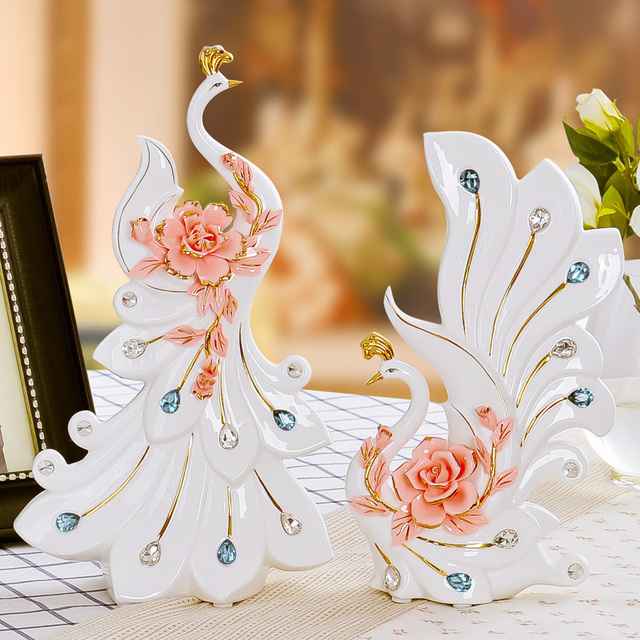 White Ceramic Peacock Lovers Home Decor Crafts Room Decoration