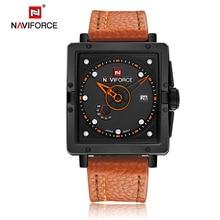 NAVIFORCE Men Watch Casual Dive Leather Sport Wristwatch