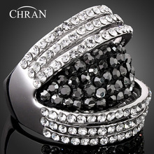 Chran Unique Style Silver Plated Sparkling Crystal Wide Rings Exquisite Ladies Finger Jewelry Accessories