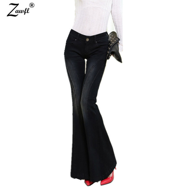 a960c12b91926 ZAWFL brand women flare jeans retro style bell bottom skinny jeans female  deep black solid wide leg denim pants
