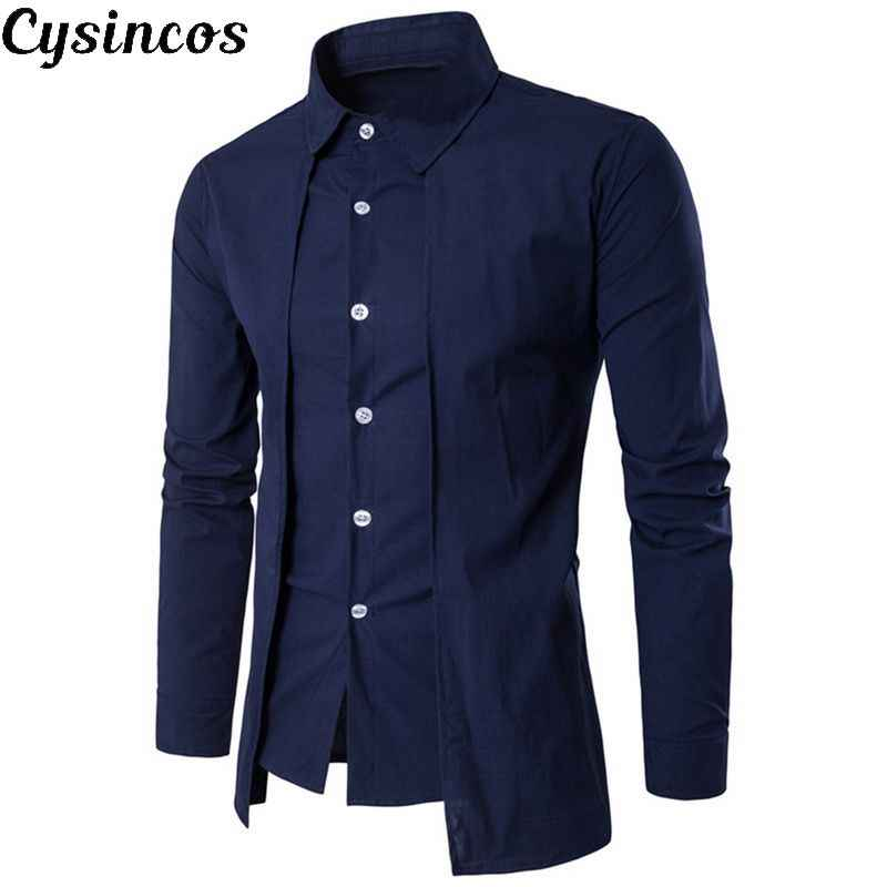 CYSINCOS 2019 New Brand British Style Men Business Shirt Autumn Fashion Solid Slim Fit Shirt Causal Long Sleeve Camisa Shirts