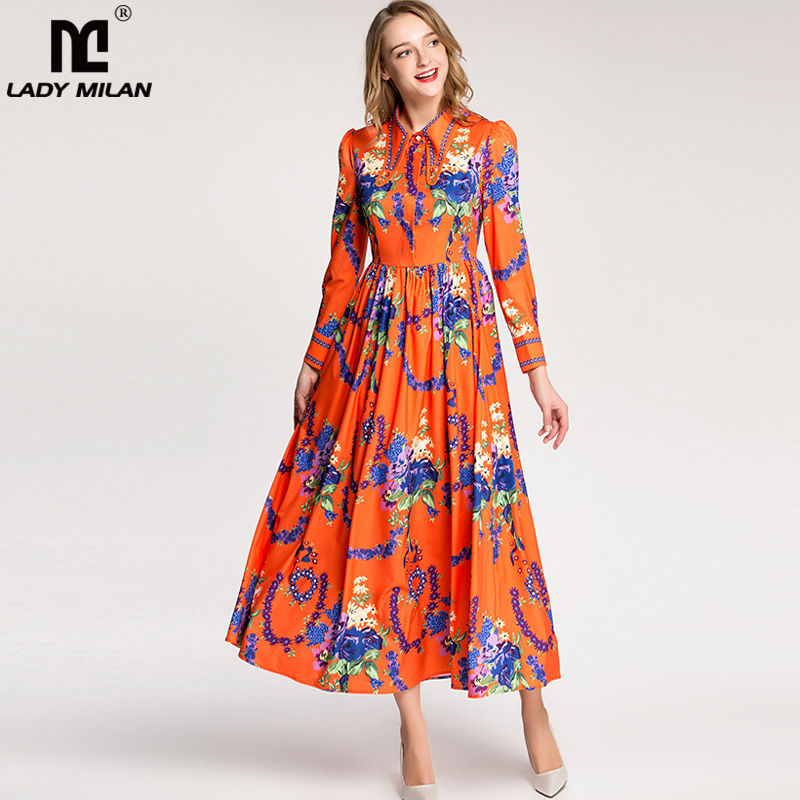 New Arrival 2018 Womens Turn Down Collar Beaded Long Sleeves Ruched Waist Floral Printed Elegant Designer Runway Dresses