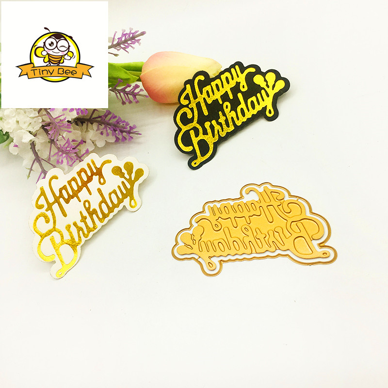 Happy Birthday Word HOT FOIL PLATE Metal Cutting Dies Scrapbooking for Card DIY Embossing Cuts New Craft Craft Stencils Stamping