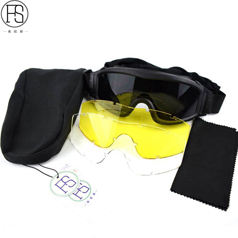 Gioielli Di Lusso Durable Desert Military Airsoft Gear Tactical Goggles Shooting Glasses With 3 Lens Motorcycle Windproof Wargame Goggles Cheapest Price From Our Site