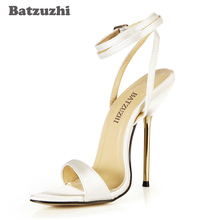 Batzuzhi 5 Color Sexy Women Summer Sandals Open Toe 12.4cm Iron Thin Heels Ankle Strap Women High Heels Sandal, Big Size US10.5 big size sexy full studs stilettos thin high heels pointy toe black leather women ankle boots