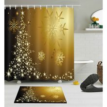 Winter Gradient Shower Curtain with Mat Set Snowflakes Christmas Bathroom Waterproof Polyester Fabric For Bathtub Home Decor(China)