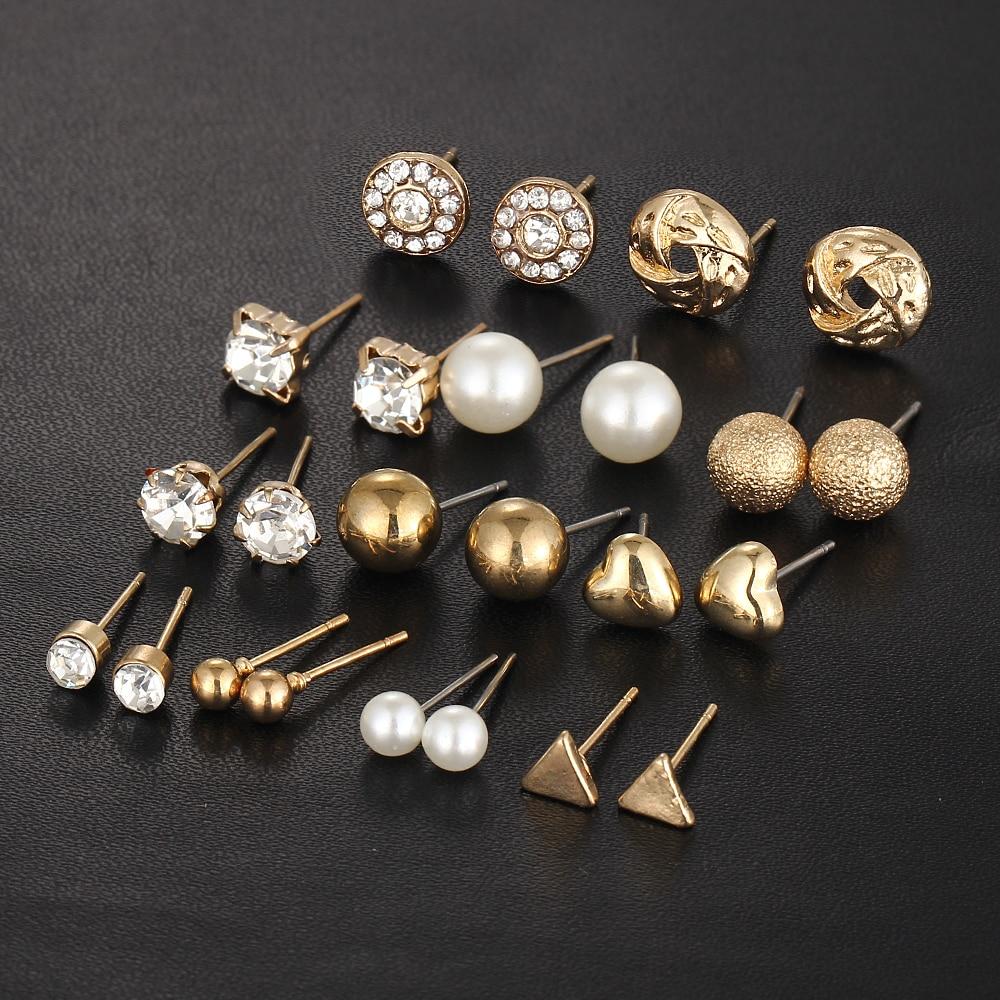 12 kom / set Kristalna legura okrugla kugla Zlatna naušnica Vintage - Modni nakit - Foto 6