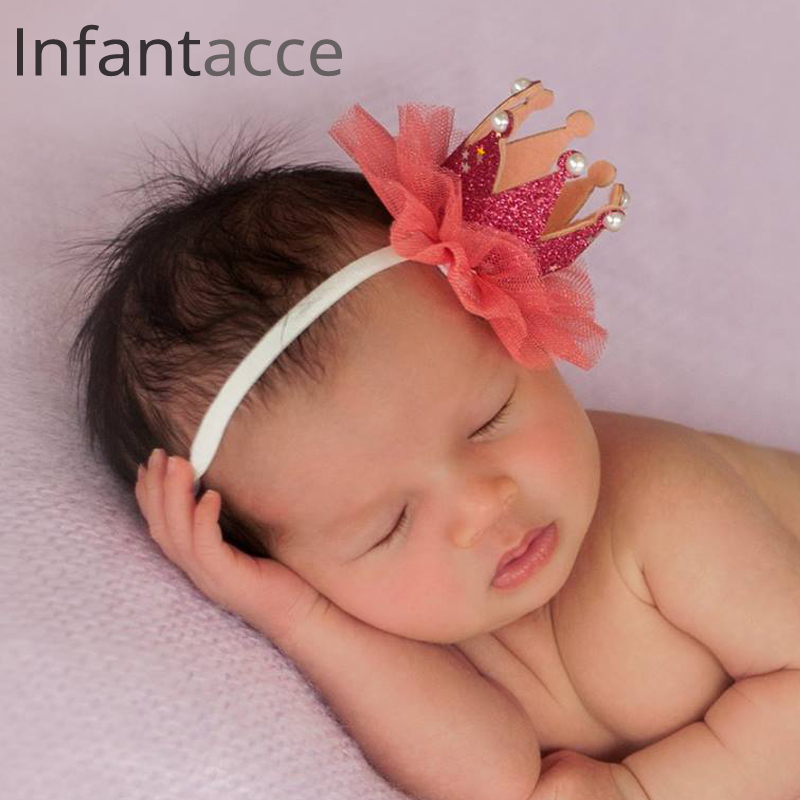 Rode pasgeboren hoofdband fotografie Haarbanden baby bloem parel - Babykleding - Foto 1