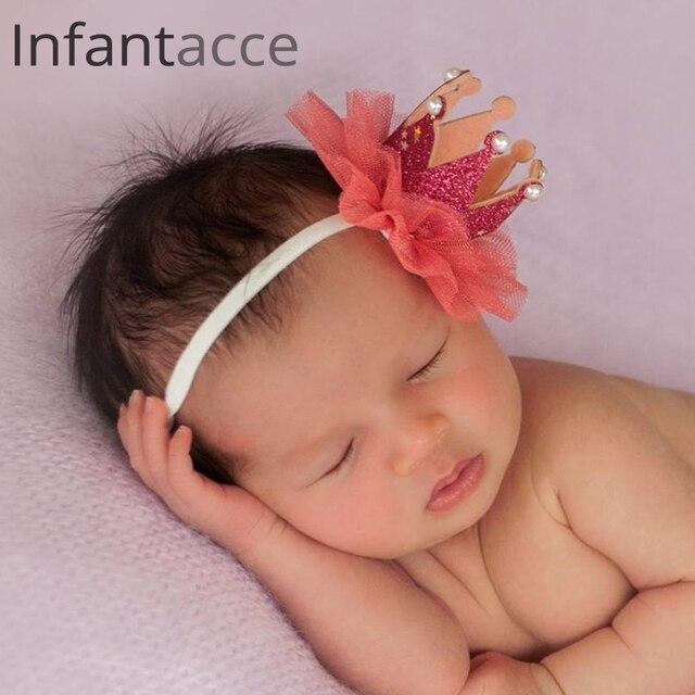 Red Newborn Headband Photography Hairbands Infant Flower Pearl Hair