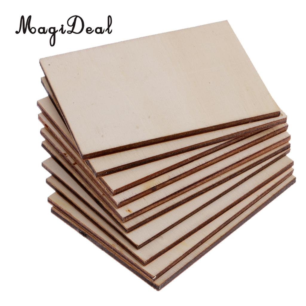 100x Wooden Square Cut Slices Shapes Wood Craft Blank Plaque DIY Pyrography
