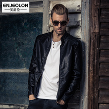 Enjeolon brand Motorcycle Leather PU Black Jacket Men,metal zipper cuff Stand collar fashion Clothing, Male Casual Coats P261