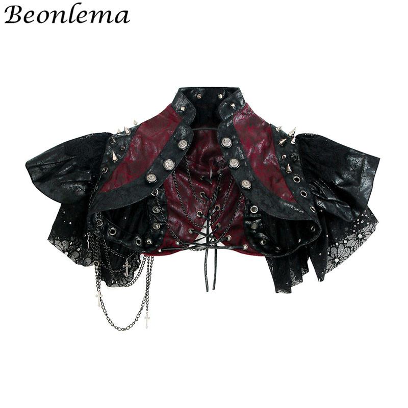 Beonlema Rivet Steampunk jacket Tops Lace Short Sleeve Women Steampunk   Bustier   With Chains Red Black Goth Shawl   Corsets