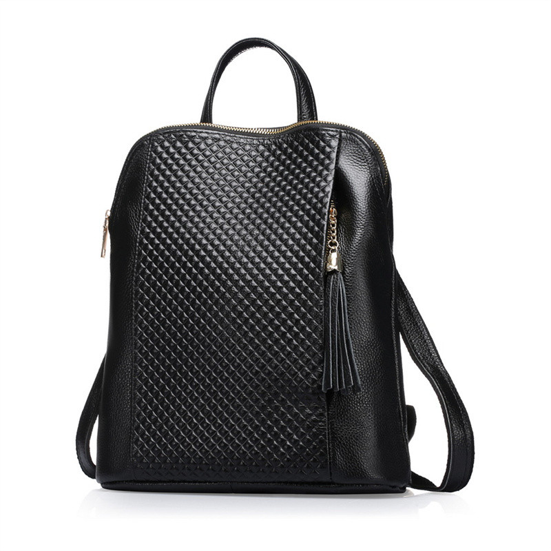 High Quality Women Backpack 100% Genuine Leather Ladies Travel Bags Female Schoolbags Girls Dual Use Backpacks 3 Colors Q0718 swdf 2016 new british style women backpacks high quality pu leather ladies backpack women s hollow leaves bags 3 colors optional