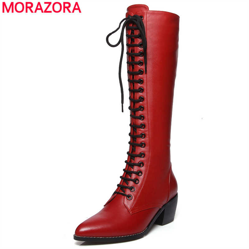 MORAZORA 2018 New genuine leather knee high boots women fashion lace up square high heels pointed toe winter snow boots female цена 2017