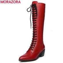 Morazora 2020 Nieuwe Lederen Knie Hoge Laarzen Vrouwen Mode Lace Up Vierkante Hoge Hakken Puntschoen Winter Snowboots vrouwelijke