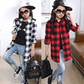 Retail 1pcs Brand Design Boys&Girls Kids Casual Long Sleeve Cotton Shirt Kids Classic Red&White&Black Plaid Blouse Unisex 5-14Y