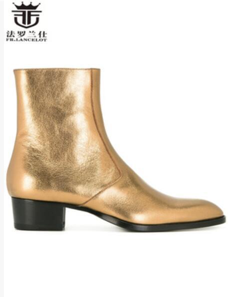 FR. LANCELOT oro punta a punta stivali di pelle uomini uomini di stile Britannico stivali moda zip mujer stivaletti bota chelsea