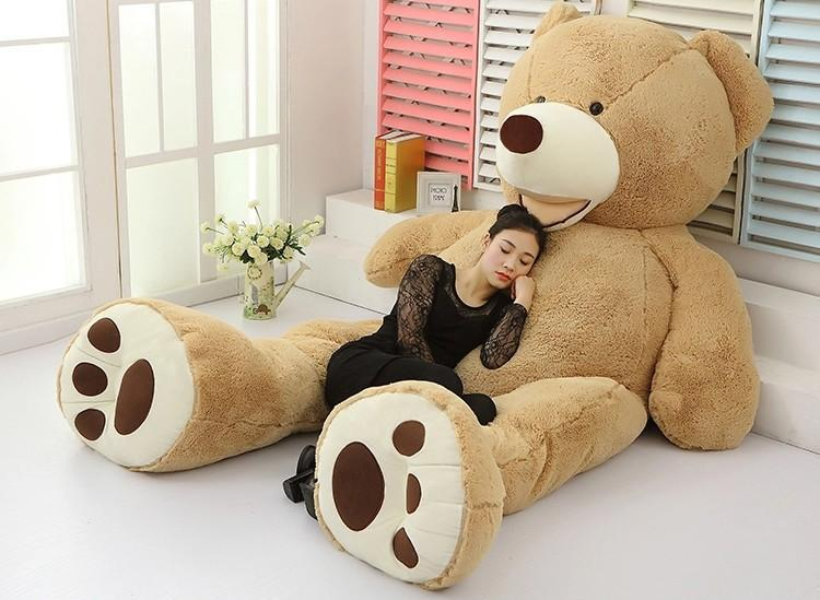 6 3 feet teddy bear stuffed light brown giant jumbo 72 size 160cm 130cm 200cm in stuffed. Black Bedroom Furniture Sets. Home Design Ideas
