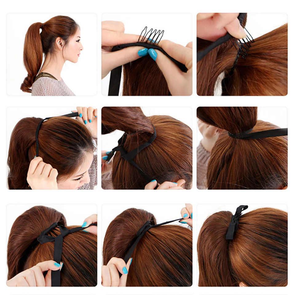 MUMUPI/длинные Кудрявые Волнистые волосы для женщин и девочек, накладные волосы на конский хвост, черный, коричневый, блонд, головной убор