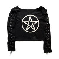 Punk Lace up Long Sleeve T Shirts Pentagram Print Short Cropped Tops Tees Gothic Style five pointed star Pattern Black Shirts