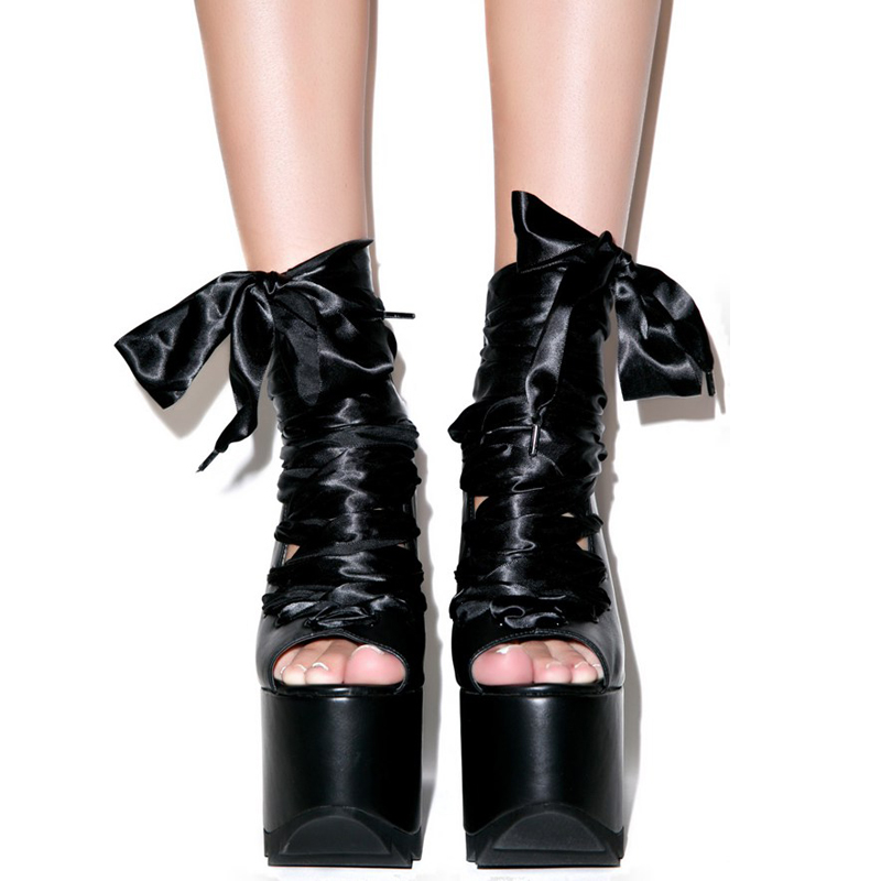 Pink /Black Punk High Heels Motorcycle Style Peep Toe Gladiator Platform Sandals With Heels Fashion JC Casual Thick Heel Shoes