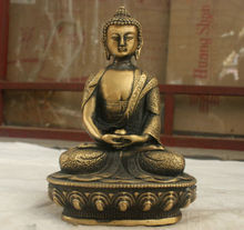 Chinese Folk Culture Handmade Old Bronze Brass Statue Sakyamuni Buddha Sculpture